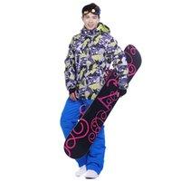 Wholesale Outdoor waterproof windrpoof set skiing jacket and pants brand men s winter ski set snowboarding suit for men