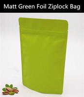aluminum oxygen - 50pcs micron Matt Green Aluminum Foil Ziplock Bag Stand up Green Anti oxygen Quality Zipper Pouch Doypack Frosted Packaging Bag