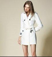 american standard pipe - Original Designer Brand New Trench Coat Runway Cotton British Style Hot Sales Womens Long Sleeve White S M L XL Plus Size BUR5088