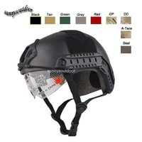 Wholesale Outdoor Sport Airsoft Paintabll Shooting Helmet Head Protection Gear ABS Simple Version MH Fast Tactical Helmet with Goggles