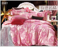 ab bedding set - Pink rose jacquard silk bed clothes bedding sets AB sides new fashion wedding tribute silk bed linens duvet cover ruffle bed sheet