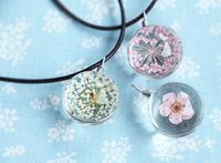 ball clover - Charm jewelry flower Clover in glass ball pendant necklace DIY handmade leaher rope necklaces party holiday festive gift drop shipping