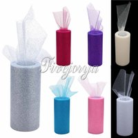 Wholesale 1 Piece x25Yards X22cm Glitter Grenadine Tulle Dress Fabric for Tutus Chair Bows Wedding Party Decoration Gift Wrapping