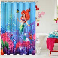 Wholesale New arrive children cartoon little mermaid ariel sebastian polyester printing waterproof mildew bathroom shower curtain cm
