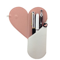 Wholesale Cute PU Leather Pen Pencil Bags Personalized Customizing Heart Pen Case for Girls