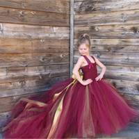 Wholesale Handmade Removable Long Train Tail Girls Tulle Tutu Dress Baby Kid Party Frocks Elegant Wine Birthday Dancing Festival Party Wedding Dresses