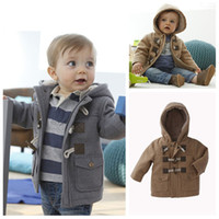 Wholesale Fashion Winter Toddler Boys Baby Horn Button Heavy Fleece Hooded Coat Jacket Kids Thickening Outerwear Children Overcoat