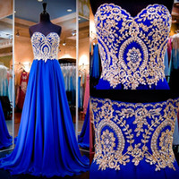 Wholesale 2016 Royal Blue Evening Dresses Real Images Sweetheart Neck Appliqued Beaded Chiffon A Line Long Prom Gowns with Sweep Train Pageant Dress
