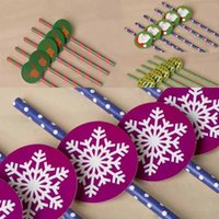 Wholesale Paper Drinking Straws Kids Birthday Party Supply Cartoon Christmas Santa Snowman Snowflakes Decorations Mixed wedding decorative Straws Card