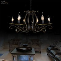 Wholesale AC100 V European Candle chandelier Lustre American country home living room chandeliers light wrought iron Metal hanging lamp