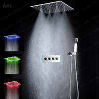 auto mirror stainless steel - Concealed LED shower set SUS304 mirror finished panel with quot embedded ceiling LED shower head rainfall mist SPA hm
