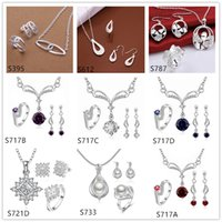Wholesale women s wedding sterling silver jewelry sets sets Multi Styles DFMS55 gemstone silver Necklace Earring Ring jewelry set