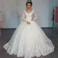 Wholesale Cheap Wedding Dresses China Vestido Noiva Renda V Neck Elegant Long Sleeve Wedding Dress Ball Gowns