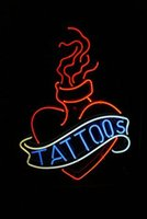 Wholesale tattoos red neon sign real glass tube display beer bar handicraft signs light CLUB store