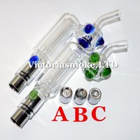 Wholesale Newest Glass Bongs Glass Hookah atomizer Dry Herb Wax Vaporizer Glass Water Atomizer dual quartz coil water filter pipe ecig bongs ecigs