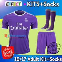 adult soccer socks - 2016 Cristiano Ronaldo Adult kits Real madrid home white away Purple Third Black soccer jersey short Socks football Shirts full sets