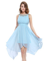 beaded short round - Cocktail Dresses Women New Arrival Fashion Asymmetrical Round Neck White Ever Pretty Hi low Short Cheap Sexy party homecoming Dress Z79