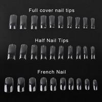 Wholesale 500 Clear False Nails Acrylic UV Gel Half French Transparent Nail Art Tips For Women Nail Beauty Tools