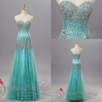 Wholesale 2017 New Arrival Real Photo Sweetheart Wedding Party Dresses Mermaid Top Beaded Tulle Skirts Mint Designer Occasion Dresses