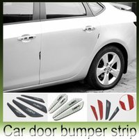 Wholesale 4pcs carbon fiber Car Door Decoration Strip General universal Crash Bar Anti Rub Bumper Door side Edge Protection stickers