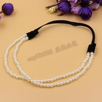 artificial pearl jewelry - DHL fashion Women Charm Chain Artificial Pearls Headband Jewelry Elastic Layers Hair Hoop hair accessories