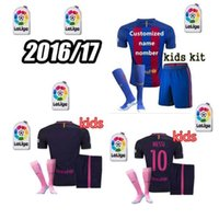 barcelona messi kids - 16 kids Soccer Suit Barcelona Home Away Rugby Jersey MESSI ARDA A INIESTA SUAREZ I RAKITIC etc ball shirt with shorts