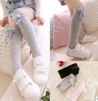 best dress socks - New korean girls new fashion socks lace flower Bows socks knee high socks bowknot long Stockings girls princess dress best socks A8341