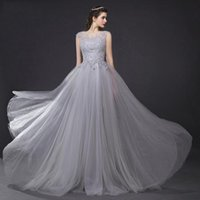 Wholesale Lace Chiffon Evening Dresses Sheer Back A Line Evening Gowns Sexy Party Dress Long Formal Dresses Custom Made