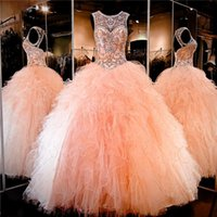 Wholesale Quinceanera Dresses Discount Peach Sheer Jeweled Beading Crystal Rhinestone Ruffled Tulle Lace up Back Ball Gown Sweet Dresses