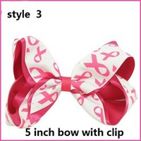 Wholesale New Arrival Printed Breast Cancer Mark Handmade Cheer Bow With Elastic