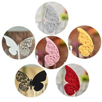Wholesale 100pcs Laser Cut Butterfly Table Mark Escort Wine Glass Name Place Cards for Wedding Decoration Baby Shower Favor Birthday Party Supplies