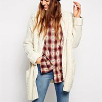 Wholesale 2016 New Fashion Outwear Coats for Women Sweater Trench Coats Knitwear Big Pocket Cardigan Shirt for Women