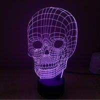 acrylic light shade - The new colorful skull D light touch switch LED acrylic touch Vision Stereo lamp lamp shades