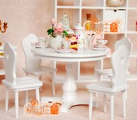 baby furniture set white - G05 X436 children baby gift Toy Dollhouse mini Furniture Miniature rement wooden chair desk table set set