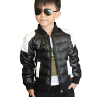 Wholesale 2016 Child leather clothing small kid s casual Down boys jacket black and white cotton padded thickening boy casual jacket