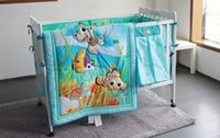 baby bedding fish - 7PCS Embroidery Ocean Fish baby crib bedding set kids bedding set newborn baby bed set include bumper duvet bed cover bed skirt