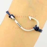 best fish friend - Newest Simple Silver Hope Fishing Hook Fish Hooks Rope Bracelets Bangles For Fishing Lovers Bracelet For Best Friend Gift Drop Shipping