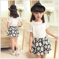 Wholesale New Big Girl Princess Set Children Summer Short Sleeve Lace Hollow Out T shirt Tops Floral Tutu Skirt Sets Kids Outfits Girls Suit