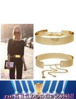 Bon Marché Plaqué argent-HOT Mode féminine pleine Or / Argent Métal Miroir Ceinture métallique plaqué or large bande Obi avec des chaînes MYY