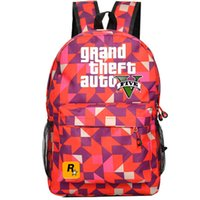 auto games - Red diamond GTA backpack V five school bag GTA5 Teenagers daypack Mochilas schoolbag Grand theft auto game day pack