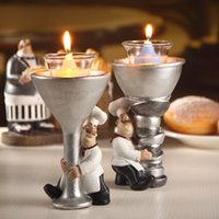 Wholesale Cute Cook Statue Candle Holder Pair Ornamental Chef Candlestick Craft Ornament Accessories for Home Cafe Restaurant and Club