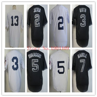active strips - Discount Baseball Jerseys Yankees Derek Jeter White Black Strip Cool Base Jerseys Mens Sports Jerseys Soft Baseball Uniform