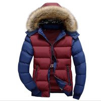 artificial fur coats - Fall winter jacket men mens warm cotton padded jackets and coats artificial fur hooded quilted jacket outdoor parkas WLF098