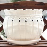 Wholesale New Chinese Creative High class European style Flowerpot Ceramics With Tray White Round Desktop Meaty Plant Pot