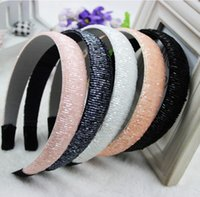 beads plastic cover - Women Girls Mixed Color Crystal Beads Plastic Hoop Satin covered Resin Hairbands Adult Kids Headbands