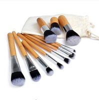 bamboo sack - 11 Natural Bamboo Makeup Brushes Foundation Blending Brush Tool Set High Quality Hot SellingPlus sack