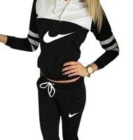 american sportswear brands - 2017 Brand Women coco channel Casual Sport Suit Hoodie Sweatshirt Pant Jogging Femme Marque Survetement Sportswear pc Set