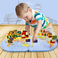 Wholesale 3 year old baby early childhood educational toys children s intelligence Montessori recognized world map flags inserted wooden puzzle
