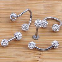 bar earring piercing - Crystal Shabamball Ball Lip Nose Ear Tragus Septum Ring Twist Belly Bar Ear Bone eyebrow Cartilage Earring Body jewelry