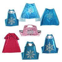 Wholesale Kids Snowman Princess Frozen Capes Masks Set Minions Capes Double Layers Anime Cosplay Costumes Halloween Party Cinderella Mermaid Capes